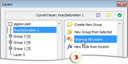 Ungrouping all layers in the current document
