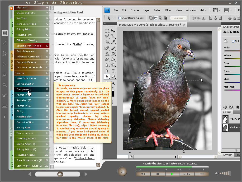 Choosing topic in the Table of Contents