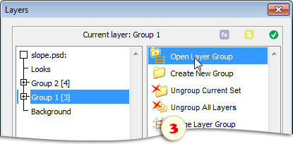 Opening a layer group